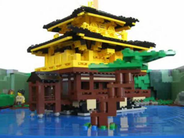 開封すると自動で組み上がる!? レゴで「飛び出る金閣寺」を作ってみた