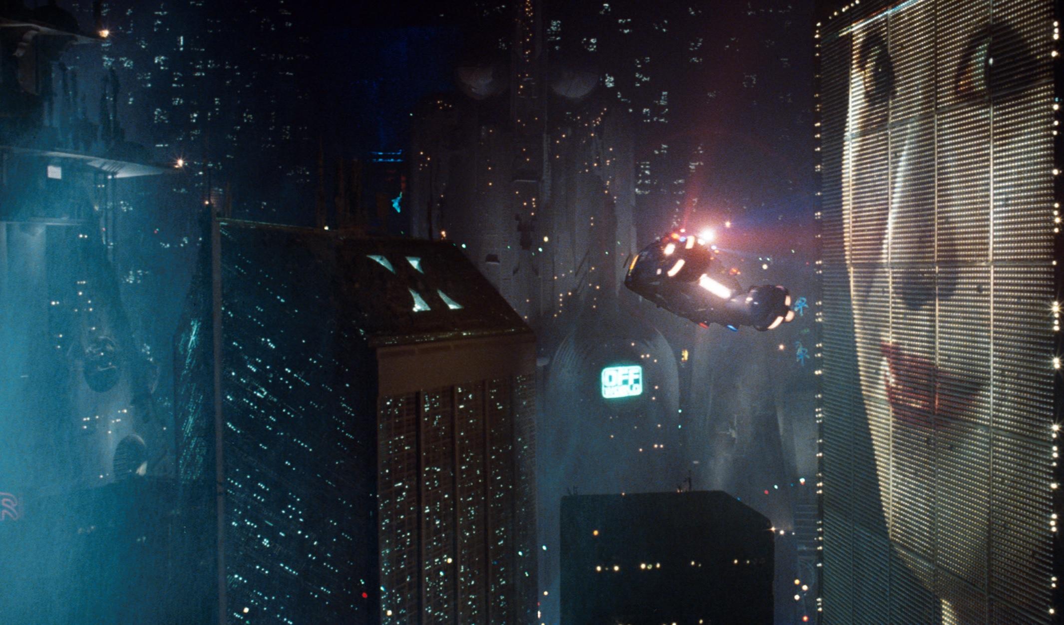 ブレードランナーで車が空を飛んでいる壁紙