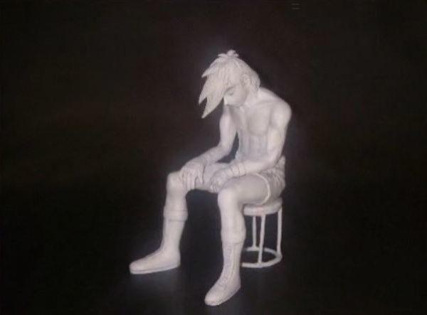 矢吹丈が真っ白に燃え尽きている『あしたのジョー』の名シーンを粘土で作ってみた