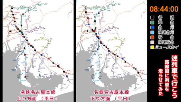 時刻表を元に路線図の上に列車を走らせてみた。名鉄名古屋駅の過密っぷりが一目瞭然に