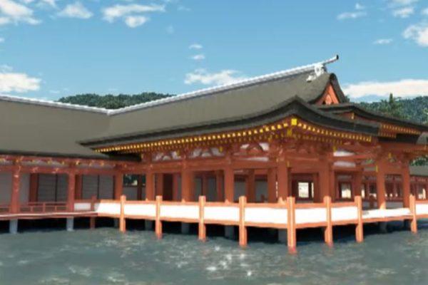 境内を見物したり、夜には綺麗な水中花火も。世界遺産・厳島神社を本当に観光しているような3D映像がすごい
