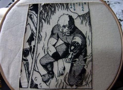 『コブラ』漫画の1ページをまるまる刺繍で再現してみた。ちゃんと読めます!