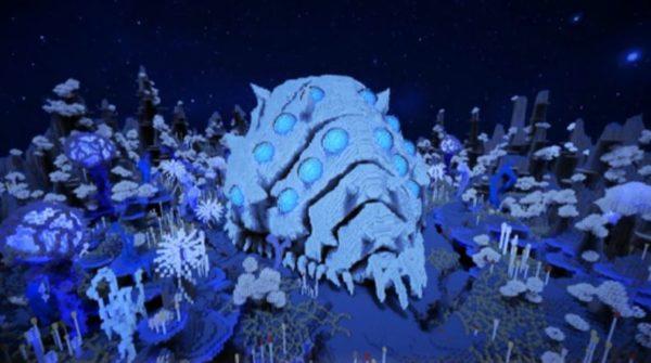 「完全な抜け殻なんて初めて!」マインクラフトで作った神秘的な光景が広がる。腐海にたたずむ王蟲の抜け殻