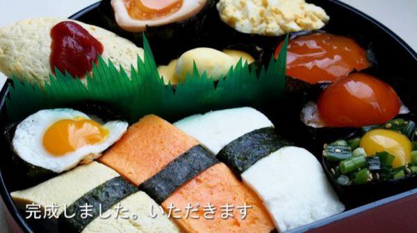 """お寿司セットのネタを""""玉子縛り""""で作ってみた。玉子だけとは思えない彩り豊かな盛り付けに「はぁ~、絶対うまい!」"""