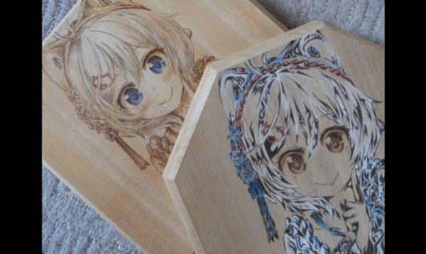 電脳少女シロちゃんを電熱ペンで描いてみた 繊細に表現された衣装や瞳の表現で「陰影を考えたこだわりの焦がし」な仕上がりに!