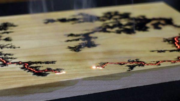 電気で木材に描かれた絵『リヒテンベルク図形』の不思議な美しさ 枝分かれを繰り返す稲妻のような模様に「幻想的だ…」「水墨画みたい」
