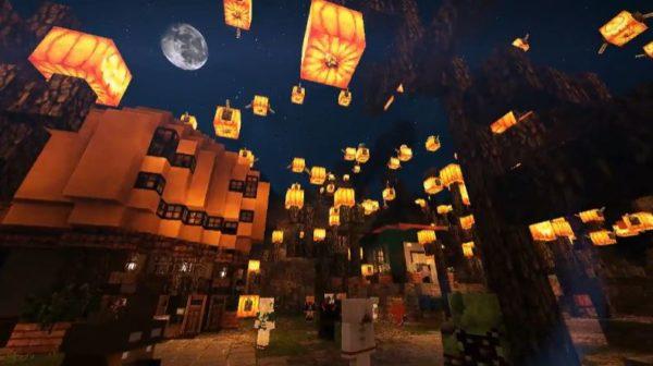 マイクラで作られたハロウィン村の世界観がヤバイ…空に浮かぶ無数のかぼちゃランプ&村に点在するハロウィンモチーフに「ここ行ってみたい!」