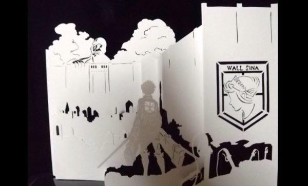 """『進撃の巨人』の世界を""""紙だけ""""で再現! 主人公・エレン、ウォール・シーナや巨人を、紙を""""削ぐ""""ことで立体的に表現するワザに驚きの声多数"""