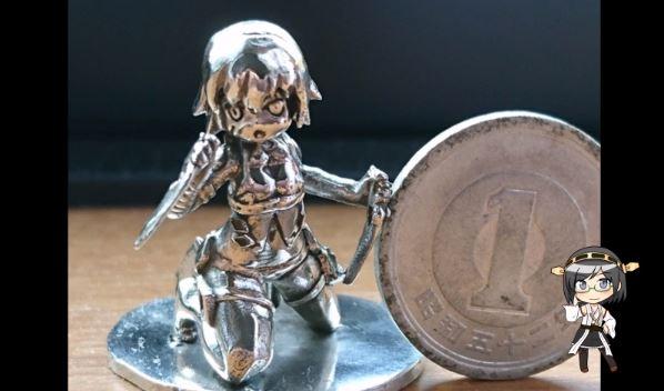 """『FGO』ジャック・ザ・リッパーを""""1円玉サイズ""""に作ってみた。光造形機を使ったシルバー細工の精密な仕上がりに感動!"""
