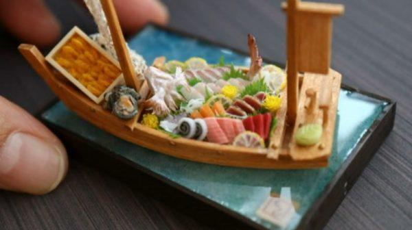 豪華絢爛! 超リアルなミニチュアの舟盛りフィギュアを作ってみた。艶のある刺身が最高に美味しそう
