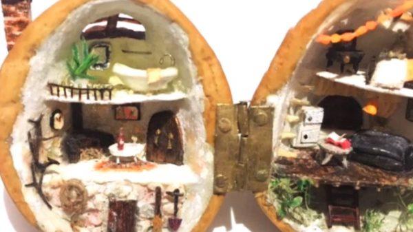 妖精さんが住んでそう! クルミの中に家を作ってみた。小さすぎてセンスが良すぎて夢があふれます