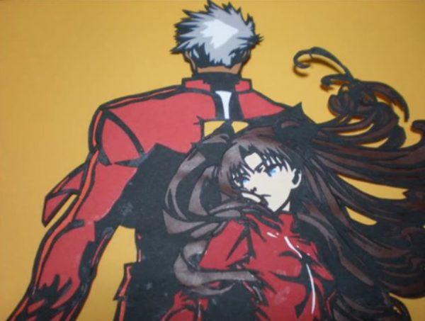 『Fate/stay night』背中合わせのアーチャーと凛の切り絵。短剣・干将や風になびく凛の髪まで再現「この運命、汝が剣に預けよう」