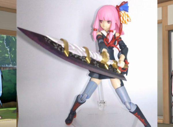 """VOICEROID・琴葉茜にモンハンクロスの大剣を装備させてみた FAガールの構造をベースに様々な""""カッコイイポーズ""""も可能に"""