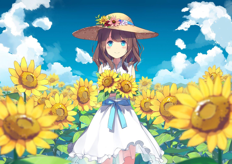 麦わら帽子をかぶったお嬢さんたちのイラスト集17枚帽子の日の画像