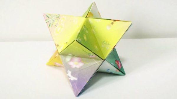 完全に一致!『FGO』のガチャでおなじみ、聖晶石っぽい『星型正八面体』を折り紙で作ってみた