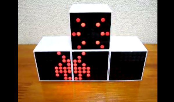 インベーダーが画面を超えて動き回る! 謎の技術を備えたマトリクスLEDキューブに「うそ…だろっ…」