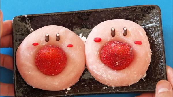 """何でも吸い込む「カービィ」がイチゴ大福になった! """"イチゴを吸わせる""""大食い設定の再現に「天才」「発想の勝利」の声集まる"""