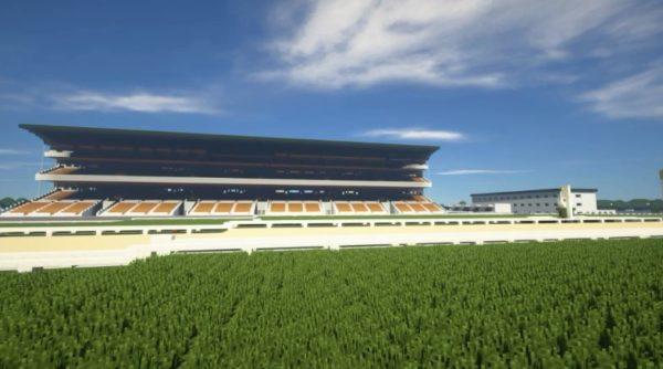 マインクラフトで競馬場を作ってみた。芝、ダート、障害、直線…自分で作ったコースを馬で走る映像は爽快!