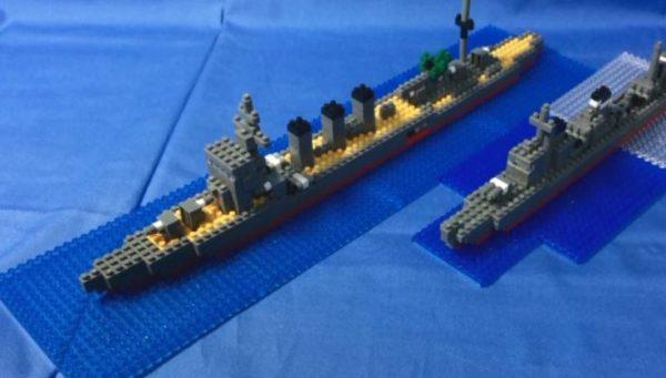 """軽巡洋艦「鬼怒」を""""ナノブロックで""""作ってみた。開口部から覗く魚雷など、細部までこだわった作品はブロックと思えないほどリアル!"""