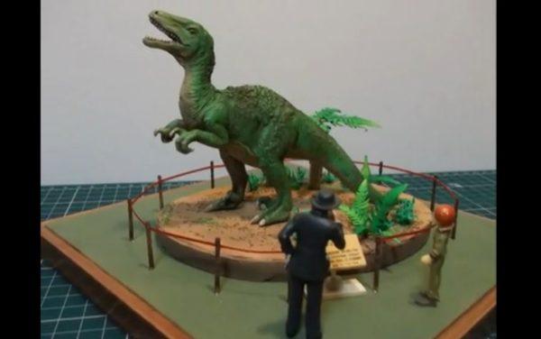 100均で買った恐竜をカッコ良く改造。博物館のようなジオラマへと変貌を遂げた作品に「よく作った!!」の声