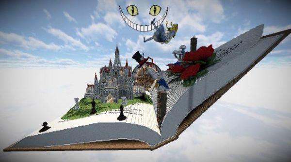 """『不思議の国のアリス』をマインクラフトで作ってみた! """"広げた本の上""""に表現した斬新な世界観へ「なんだこの素晴らしさ」「芸術の域だわ」の声"""