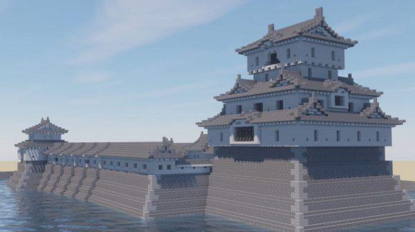 """マインクラフトで高松城を作ってみた! 天守のそびえる""""かつての姿""""の再現に「凄い出来だ」「他の城もみたい」の声"""