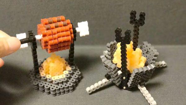 上手に焼けました~! グルグル回せる『モンハン』肉焼きセットがアイロンビーズで完成! レゴブロックのような立体感に驚きの声