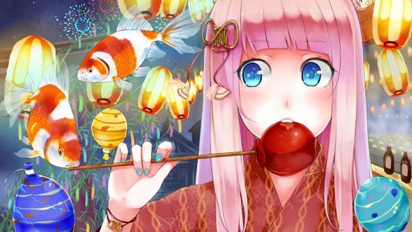 りんご飴でも一緒に食べよ? 『お祭り×浴衣女子』のイラスト集