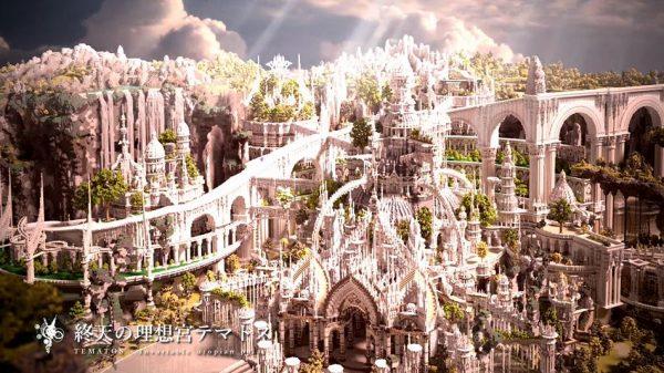 マインクラフトの中に広がる冒険世界…「FF」シリーズ連想させる景観や荘厳な建築、さらにドラゴンまで現れる!?