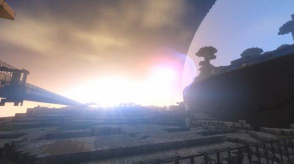 """マイクラの""""終末世界""""をひた走る列車。トンネルを抜けるたびに、別世界のような滅びた都市が広がり「このSFチックな演出たまらん」の声"""