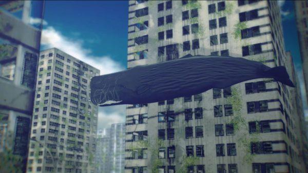 ビルの合間を遊泳する…巨大なクジラ⁉︎ マイナスイオンが画面から溢れ出すChillなアニメーションがずっと見ていられる件