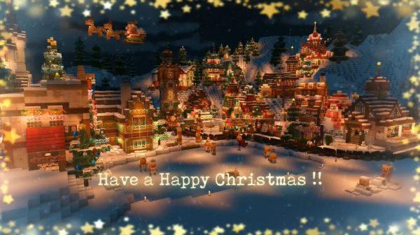 マイクラでクリスマスの街が完成…汽車まで走るイルミネーション街の輝きに「おおー!きれい!」と歓声が
