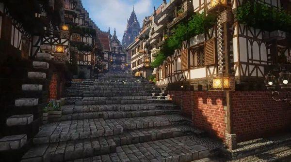 マインクラフトで壮大な「ファンタジーの世界」が完成。2年半かけたという街並みの石畳の道をどこまでも探索したい!