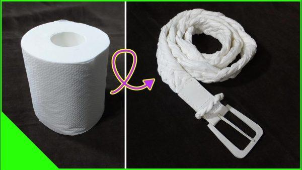 """トイレで紙がない時に持って来い⁉ """"トイレットペーパー""""で編んだベルトを作ってみた!"""