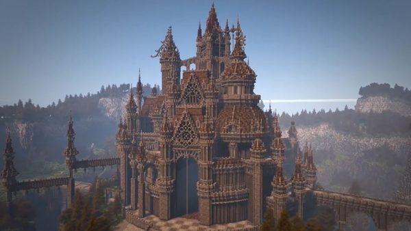 複雑な地形の中に建つ、マインクラフトのお城…ダークファンタジーの予感にワクワクが止まらない