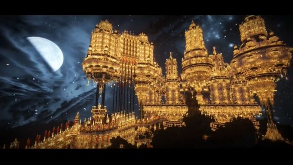 マインクラフトで巨大な王城「Chandella」が完成! 水を湛えたお城が夜にはシャンデリアのように輝き「ただただ見入る」の声
