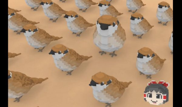 """3Dドットアート「ボクセル」のスズメが完成! """"自作の""""ボクセルエディタで彫刻のように作り上げ「かわいいなあ」「ローポリ感ある」の声"""