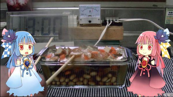 """煮汁に""""電流を""""流して炊く「電気煮豆」に挑戦! 電気が発するジュール熱で煮汁はボコッボコッ沸騰…おいしい煮豆はできるのか!?"""