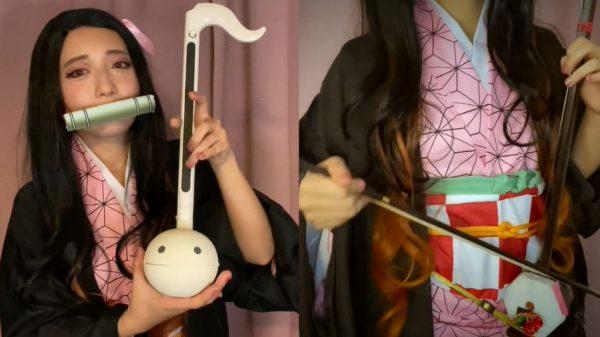 『鬼滅の刃』禰豆子のコスで『紅蓮華』を演奏してみた! 二胡とオタマトーンが奏でるハーモニーに「ほんと美しい」「歌ってるみたい」と称賛の声