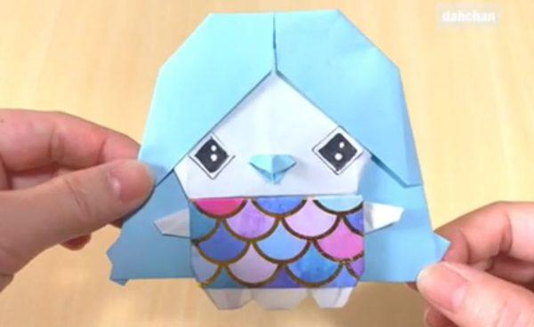 """話題の「アマビエ」を折り紙で作ってみた…""""2等身""""の可愛らしいバランスで、疫病退散の妖怪が完成!"""