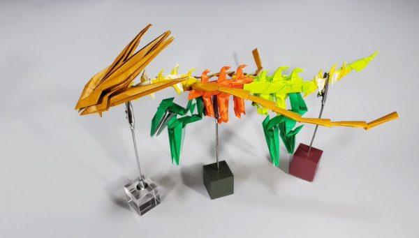 『ポケモン剣盾』伝説のポケモン「ムゲンダイナ」を折ってみた! 折り紙で巨大な竜の骨格を再現した作品に「うわあ、すごい」「かっこいい」の声