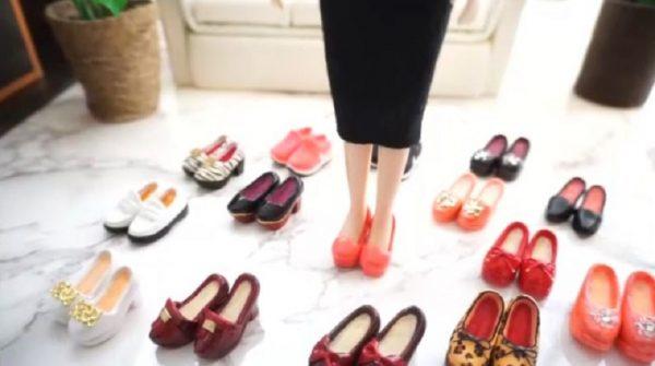"""リカちゃん人形の""""靴""""を作ってみた…沢山の手作り靴に囲まれたリカちゃんに「かわいいー!」「こんな靴ほしい」の声"""