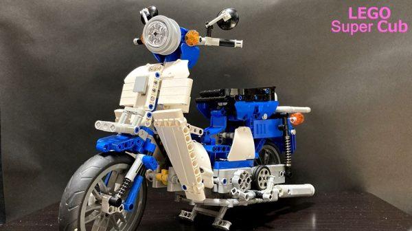 レゴで「スーパーカブ」を作ってみた…空気式単気筒エンジンが動き出し「すげー」「あぁ…カブだぁ」の声