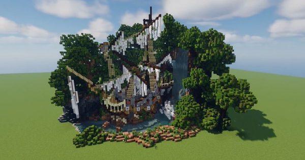 """マイクラで「森の中の朽ちた船」を作ってみた…滝に隠れるように佇むその姿へ""""ドラマとロマン""""を感じる!"""