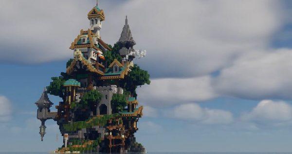 """マイクラのバニラで「ファンタジーな島」を作ってみた…島全体に絡みつく""""大きな木""""との暮らしが雰囲気たっぷりに完成!"""