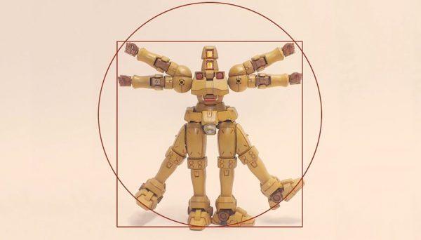 """ガンプラ改造でレオナルド・ダ・ヴィンチの「人体図」を再現! 強烈すぎるその""""美""""に「なんだこれw」「発想が天才のそれ」の声"""