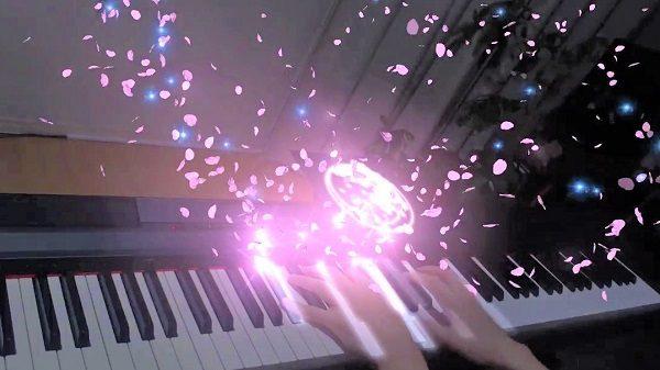 """名曲『春よ、来い』を""""ARピアノ""""でカバーしてみた! プロジェクションマッピング用のソフトを使ったリアルタイムで桜が舞い散る幻想的な演出にウットリ"""