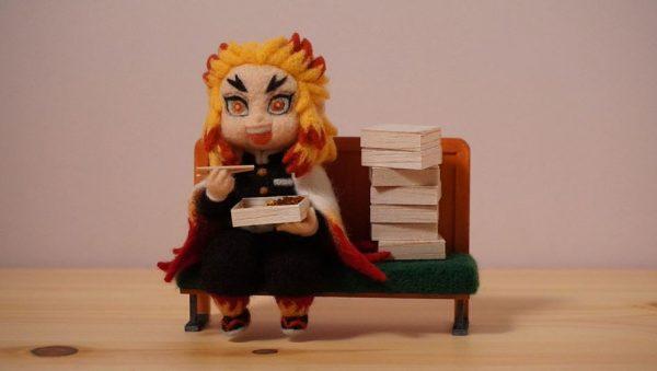 『鬼滅の刃』煉獄杏寿郎を羊毛フェルトで作ってみた…「うまい!」を連発しそうなその表情に「かわいい!」「うまそうに食いやがって」の声