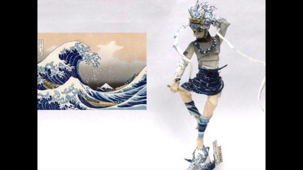 葛飾北斎『富嶽三十六景』を切り貼りして立体の雷神を作ってみた! 浮世絵が威風堂々たる像に変化する制作のアイデアがすごい