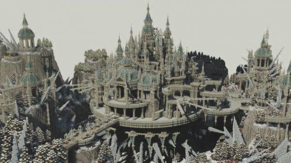 マインクラフトで作った「氷針ノ城」…雪の向こうに浮かび上がる美しい情景に「溜息出ちゃうくらい綺麗」「これはすごい」の声